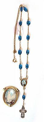 Schmuckkette Fatima als Rosenkranz, blau