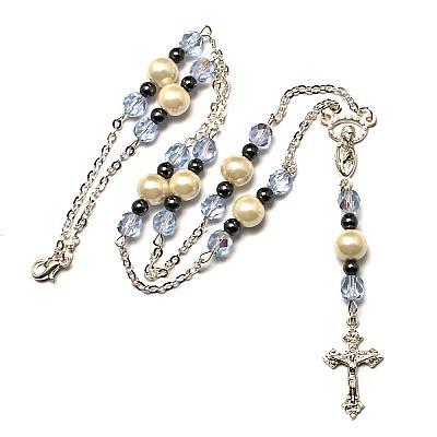 Schmuckkette Perle, schwarz und hellblau