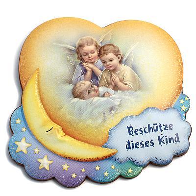 Schutzengel 'Beschütze dieses Kind', Engel am Bettchen