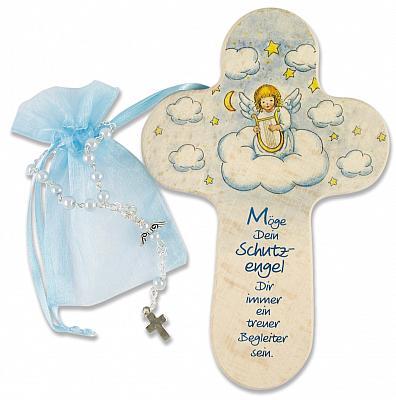 Taufgeschenkset: Kinderkreuz und Rosenkranzarmband, hellblau (Hellblau)