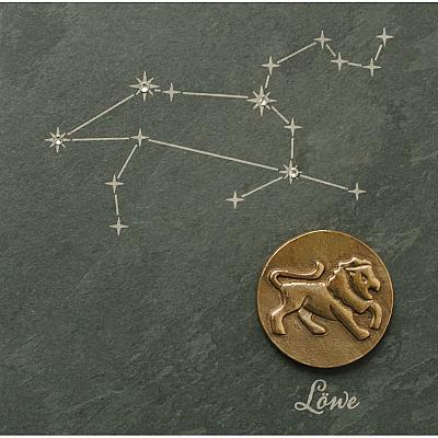 Sternzeichen Löwe, Schiefer & Bronze