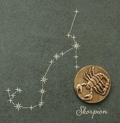 Sternzeichen Skorpion, Schiefer & Bronze