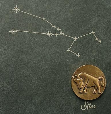 Sternzeichen Stier, Schiefer & Bronze