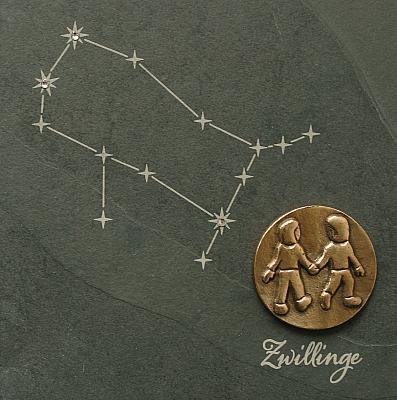 Sternzeichen Zwillinge, Schiefer & Bronze