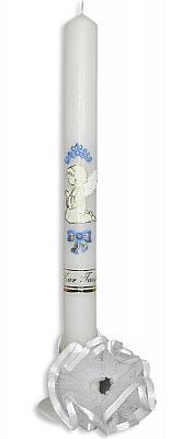 Taufkerze 'betender Engel', blau mit Tüllrosette