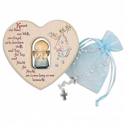Taufset: Holzherz mit Engel aus Holz und Rosenkranz, hellblau (Hellblau)