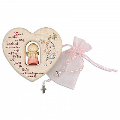 Taufset: Holzherz mit Engel aus Holz und Rosenkranz, rosa (Rosa)