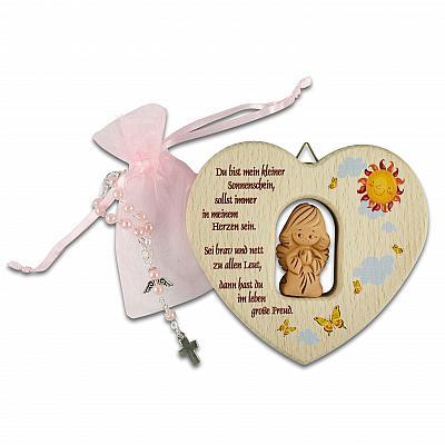 Taufset: Holzherz mit Tonengel und Rosenkranz, rosa (Rosa)