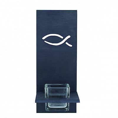 Weihwasserbecken 'Fisch' mit Glaseinsatz, modern