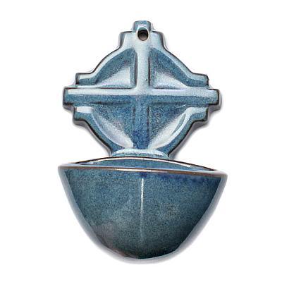 Weihwasserbecken Keramik blau