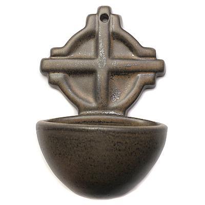 Weihwasserbecken Keramik braun