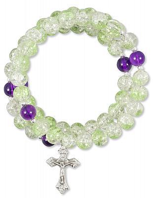 Wickelarmband hellgrün/lila mit Kreuz