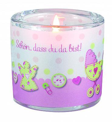 Windlicht 'Geburt - Schön, dass du da bist!', rosa (Rosa)
