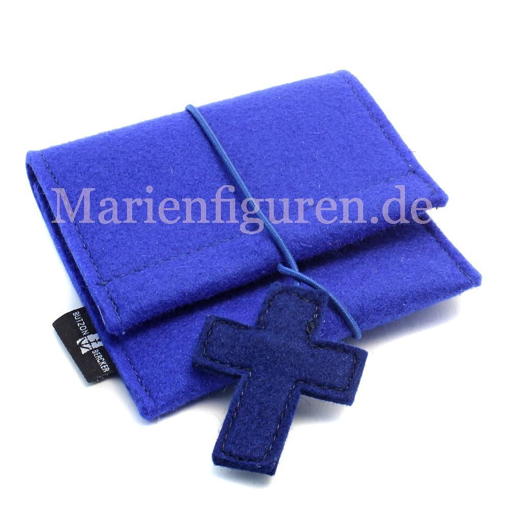 rosenkranzt schchen mit kreuzanh nger filz blau kaufen. Black Bedroom Furniture Sets. Home Design Ideas