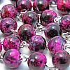 Glas-Rosenkranz violett marmorierte Perle 8mm
